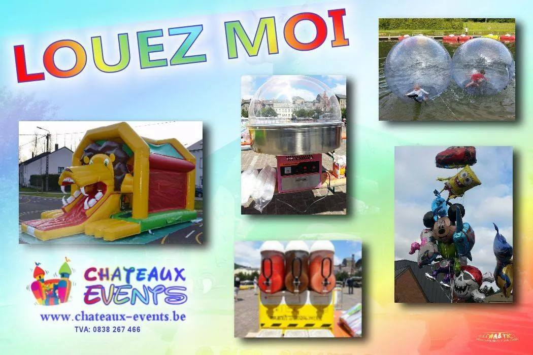Flyers chateaux events location château gonflable Luxembourg, Arlon, Virton